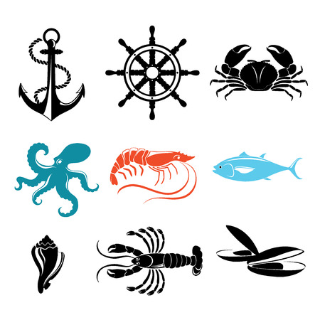 Seafood icons. Crab, lobster, fish, octopus. Vector