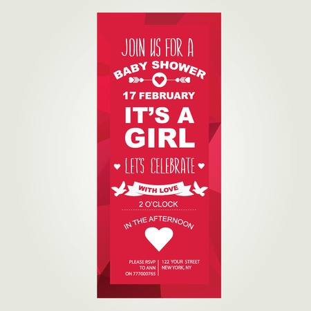 it s a girl: Baby shower invitation  It s a girl  Vector illustration