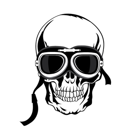 Skull illustration. T-shirt design. Tatoo art. Vector