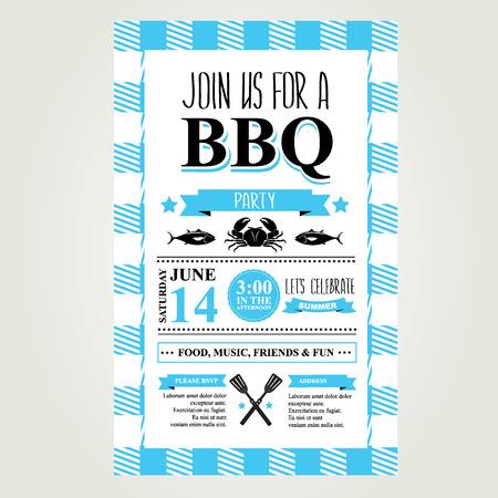 Barbecue partij uitnodiging. BBQ brochure menu design. Stock Illustratie
