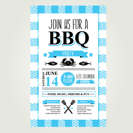 vintage invitation: Barbecue party invitation. BBQ brochure menu design.