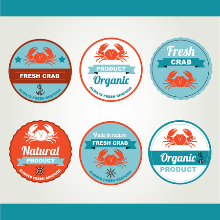 Set of seafood icons. Retro labels, stamps.  Vector