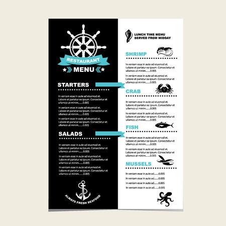 Seafood cafe menu grill, template design. Vector