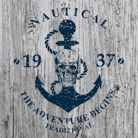 skull drawing: T-shirt print. Nautical marine, badge design.