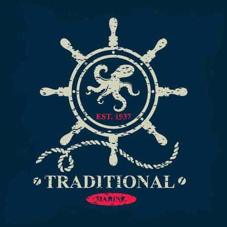 T-shirt print. Nautical marine, badge design. Vector