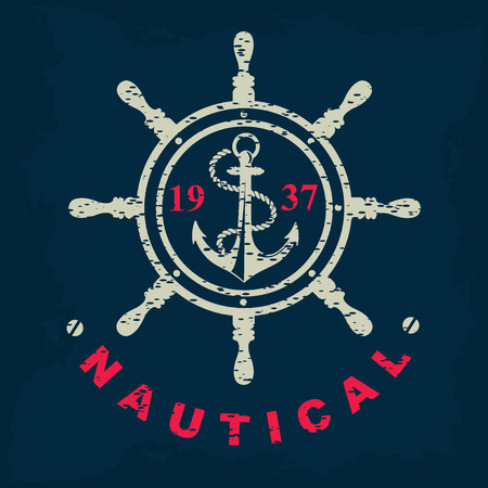 ancre marine: T-shirt imprim�. Marine nautique, dessin de l'insigne.