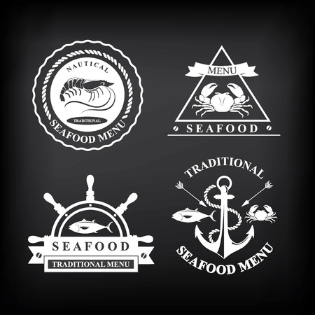 fish type: Restaurant menu set of seafood, template design Vector illustration