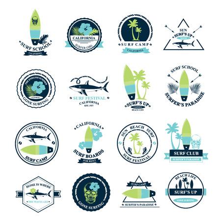 etiquetas de ropa: Navegar por los iconos de verano, vector colección de etiquetas.