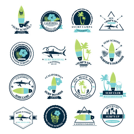 Surfing summer icons,vector labels collection. Stock Illustratie