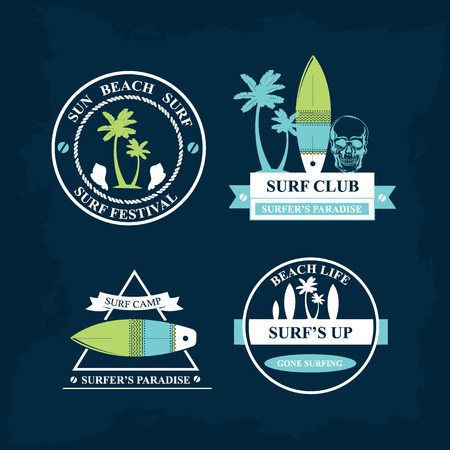 Surfing summer icons,vector labels collection. Vector