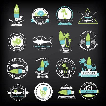 surf silhouettes: Surfing summer icons,vector labels collection. Illustration