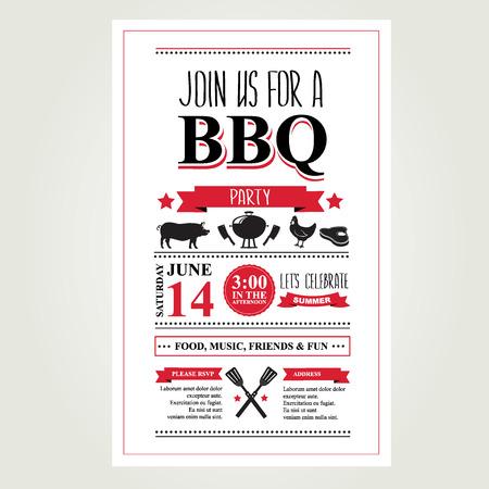 Barbecue feest uitnodiging BBQ brochure menu design