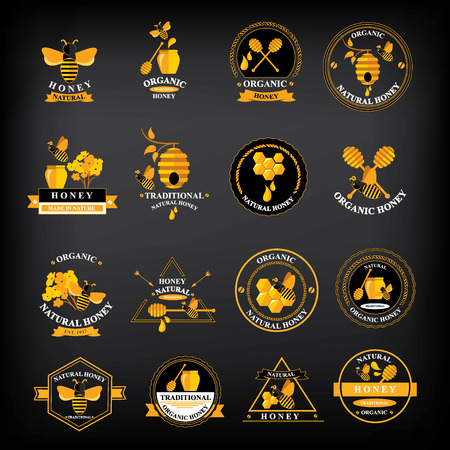 Set Honey badges and labels  Abstract bee design