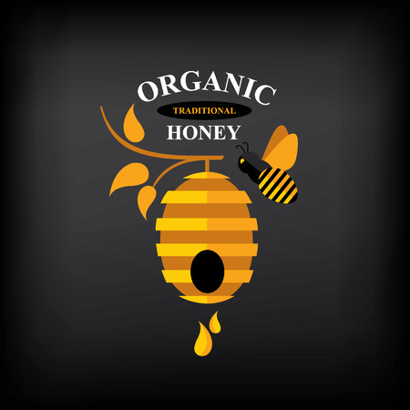 バッジは蜂蜜、抽象的な蜂デザインのラベル