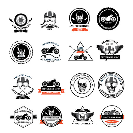 Set of vector labels, motorbike shop