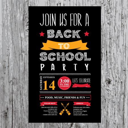パーティの招待状のデザイン テンプレートを学校に戻る  イラスト・ベクター素材