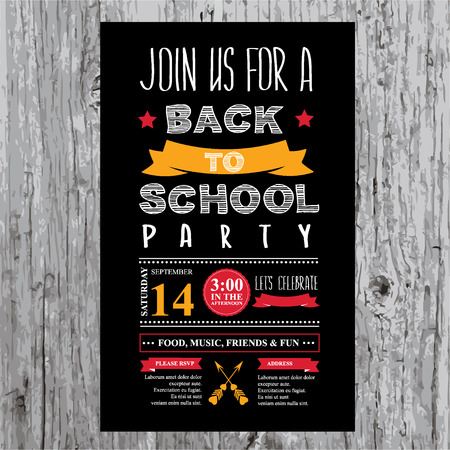 Back to school party invitation  Design template