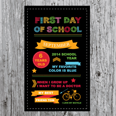 First of school party invitation  Design template