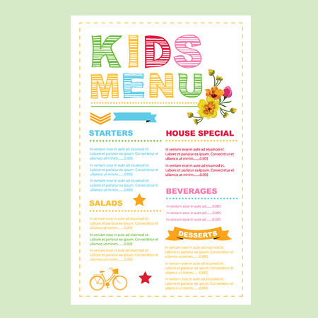 kids eating: Kids menu template.