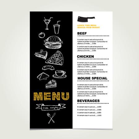 old newspapers: Restaurant cafe menu, template design.