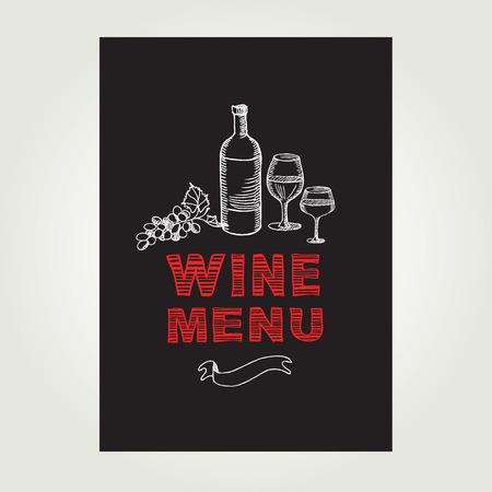 vintage newspaper: Cocktail wine bar menu, template design.