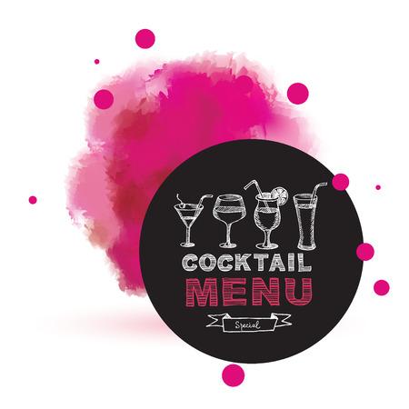 Cocktail bar menu, template design. Illustration