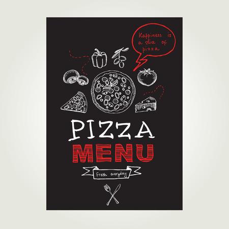 pizza chef: Restaurant cafe pizza menu, template design.