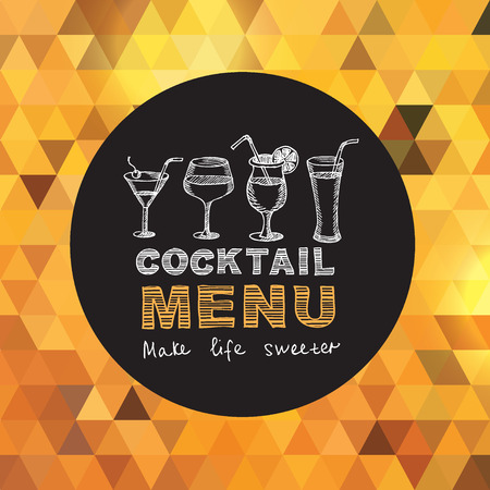 old bar: Cocktail bar menu, template design. Illustration