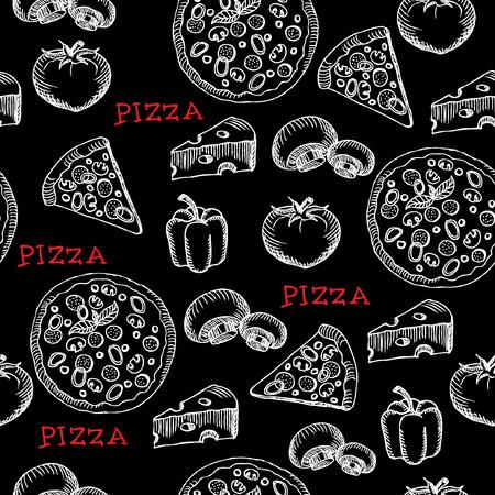 シームレスなピザ パターン レトロなデザイン。  イラスト・ベクター素材
