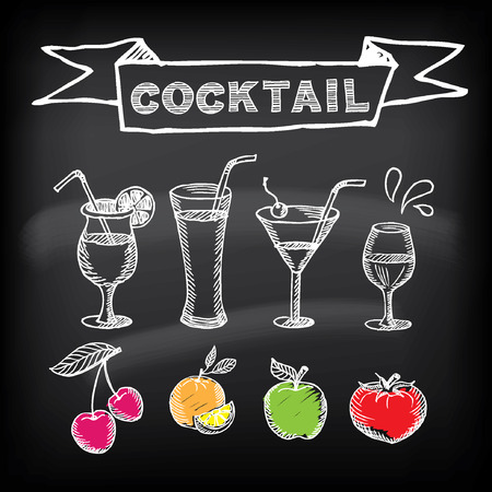 křída: Cocktail bar designu menu šablon.