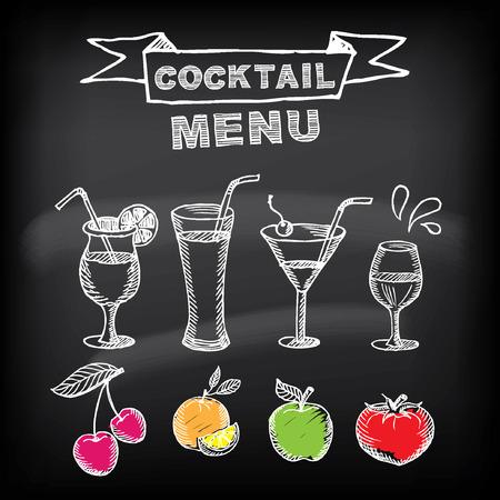 old newspaper: Cocktail bar menu, template design. Illustration