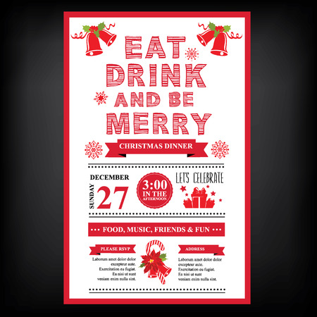 dinner party: Christmas restaurant and party menu, invitation.
