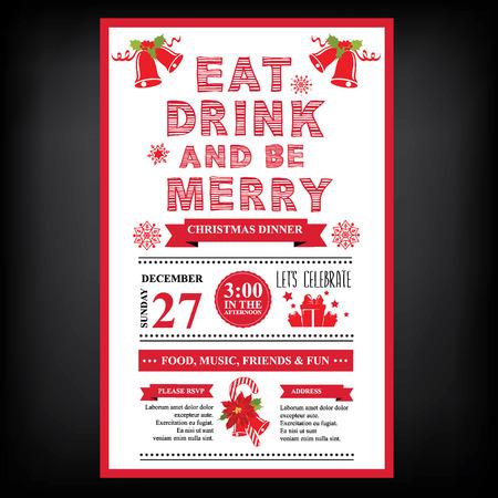 cena navideña: Restaurante Navidad y menú de la fiesta, invitación.