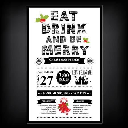 크리스마스 레스토랑과 파티 메뉴, 초대장.