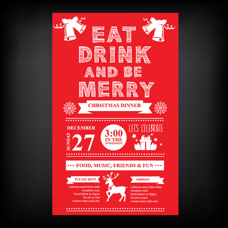 typography: Christmas restaurant and party menu, invitation.