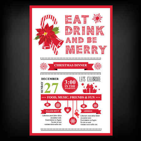 christmas drink: Christmas restaurant and party menu, invitation.