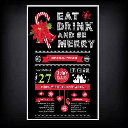 food and drink holiday: Christmas restaurant and party menu, invitation.