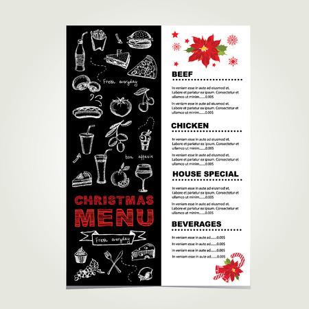 Christmas restaurant and party menu, invitation. Vector