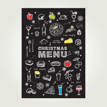 vintage newspaper: Christmas restaurant and party menu, invitation.