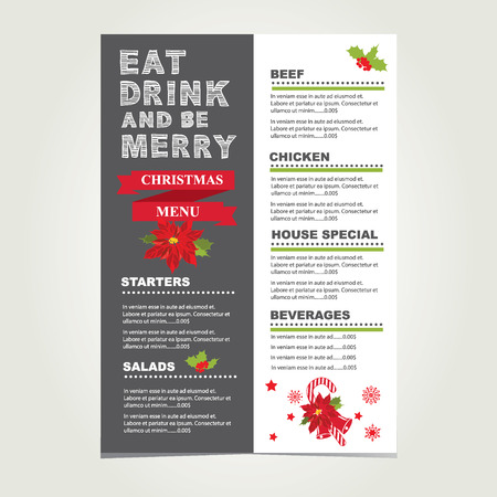 christmas dinner party: Christmas restaurant and party menu, invitation.