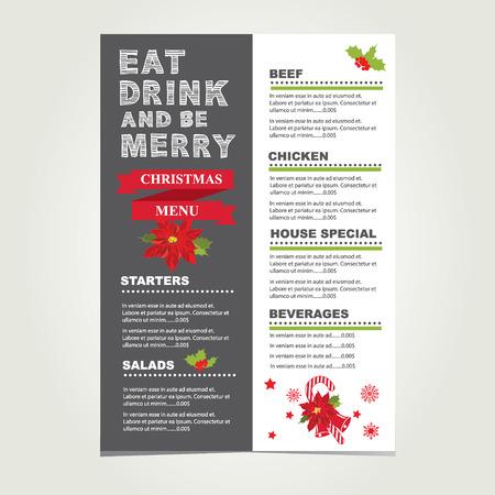 christmas menu: Christmas restaurant and party menu, invitation.