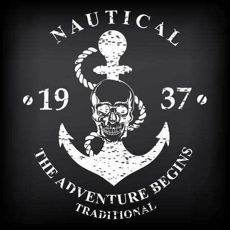 T-shirt print design. Nautical marine, badge design. Vector