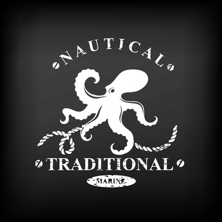 T-shirt print design. Nautical marine, badge design. Vector