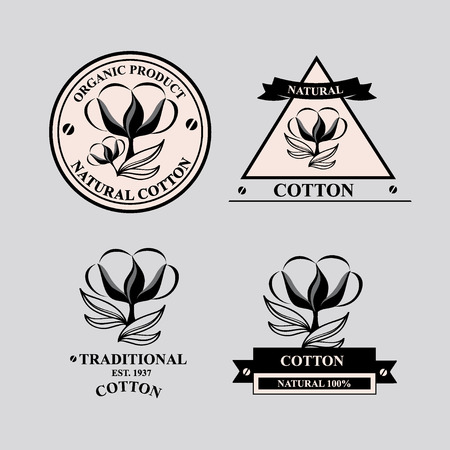 Cotton icons, natural product. Vector