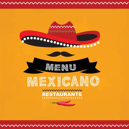 Menu mexican, template design.Vector illustration.