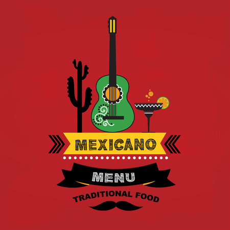 Menu mexican, template design.Vector illustration. Vector