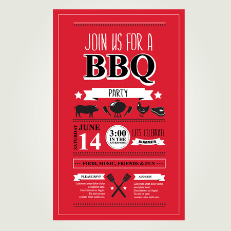 Barbecue party invitation. BBQ brochure menu design.