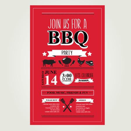 retro party: Barbecue party invitation. BBQ brochure menu design.