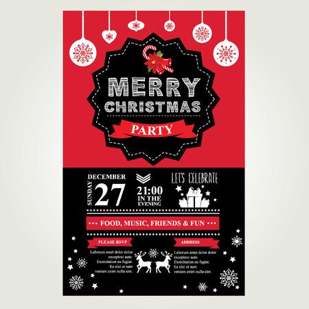 invitacion fiesta: Invitación Feliz Navidad. Ilustración del vector.