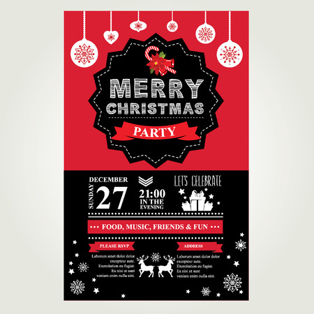 party flyer background: Invitation Merry Christmas. Vector illustration.